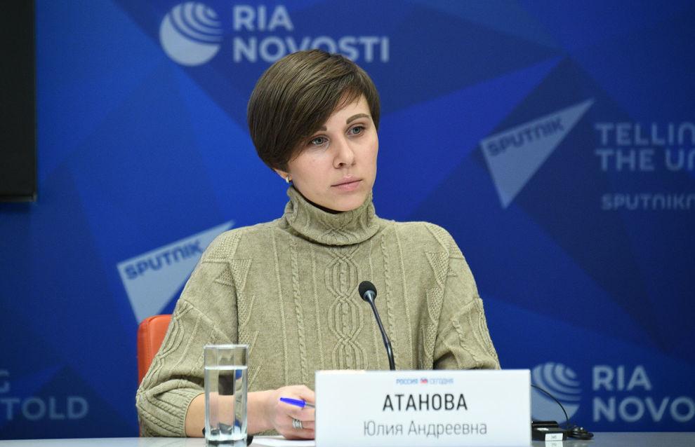 Руководитель проекта Arctic.ru Юлия Атанова во время онлайн-сессии «Холодная информационная война в Арктике» в рамках II Международного «Северного форума по устойчивому развитию»