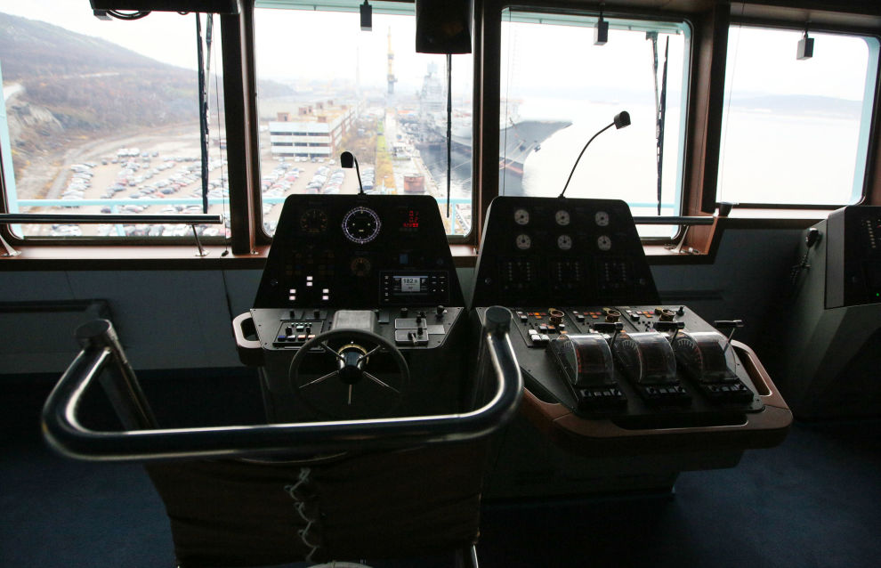 The wheelhouse of Russian Arktika nuclear-powered icebreaker, in Murmansk, Russia. The ice-breaker left St. Petersburg on September 22 and made a 21 day journey of 4,800 nautical miles