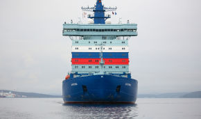 The Arktika icebreaker begins to navigate the Northern Sea Route