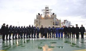 Vladimir Putin visits the new icebreaker Viktor Chernomyrdin at the Sea Facade passenger port in St. Petersburg