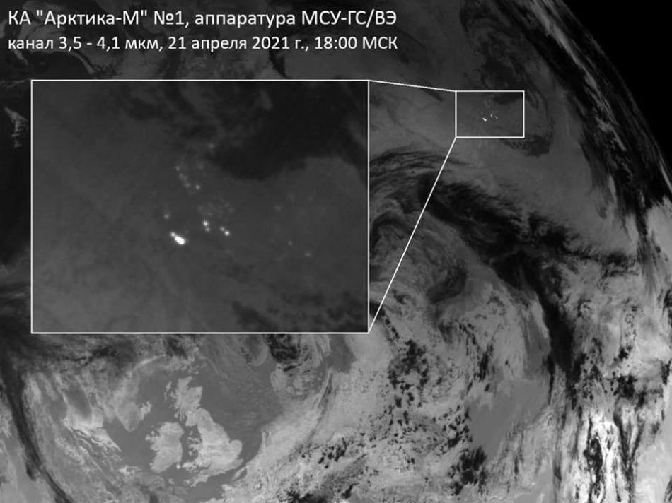 Akrtika-M monitors a wildfire