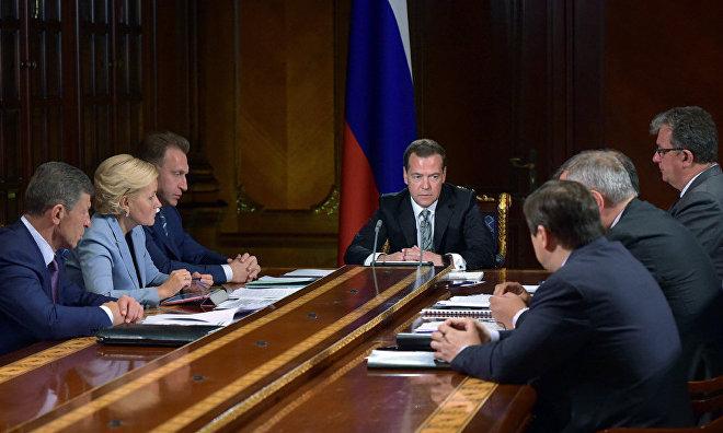 Prime Minister Dmitry Medvedev meets deputy prime ministers