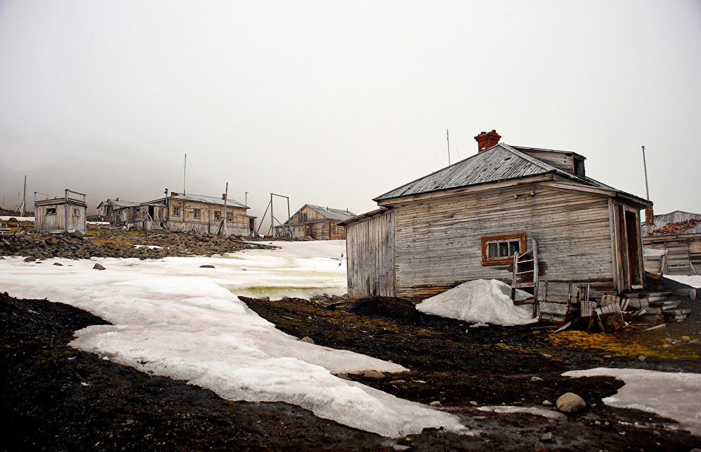 The abandoned polar station Tikhaya