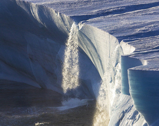 Waterfall as viewed from a glacier, Franz Josef Land