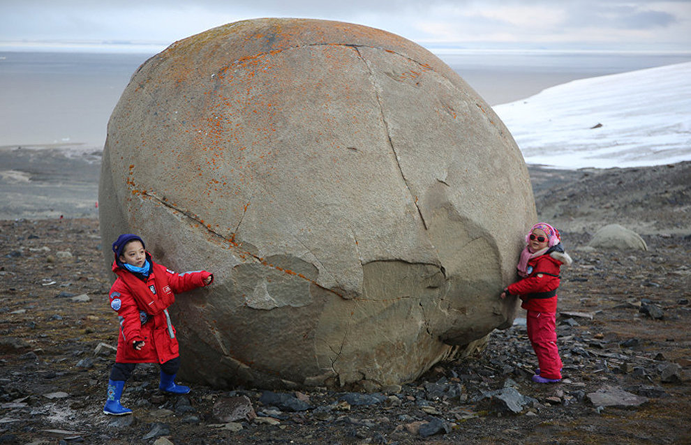 Stone ball on Champ Island, Franz Josef Land