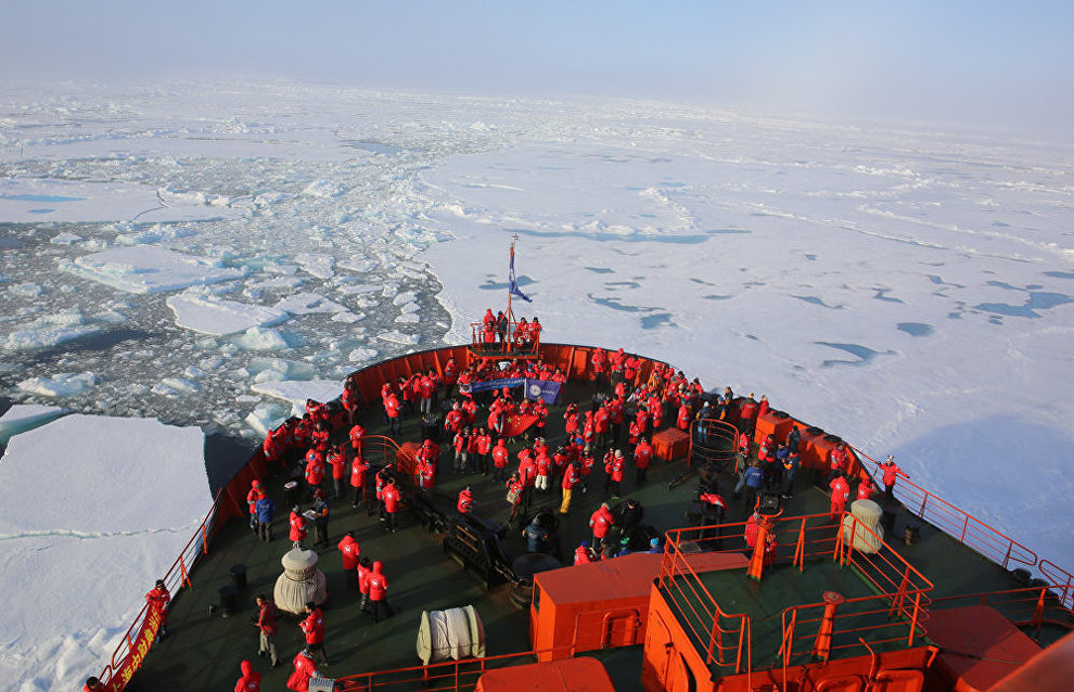 Tourists aboard the nuclear icebreaker 50 Let Pobedy