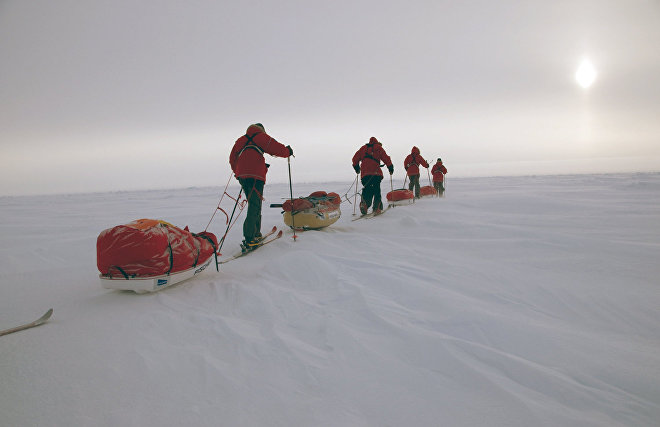 """Skiing to the North Pole"""