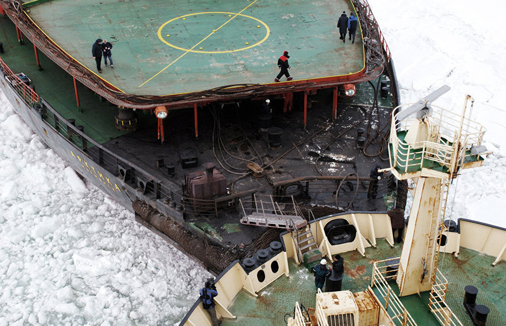 Two nuclear powered icebreakers dock in the Kara Sea