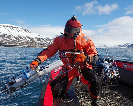 Oceanographic research in the fjord