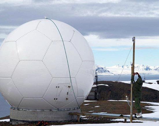 Satellite antennas in the town of Barentsburg