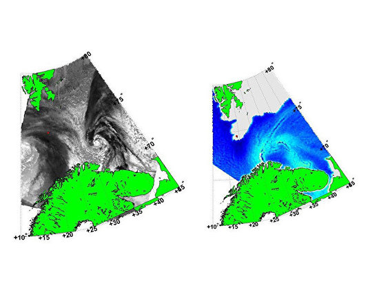 Detecting a polar cyclone using an unprocessed satellite image, left, and an integral humidity field