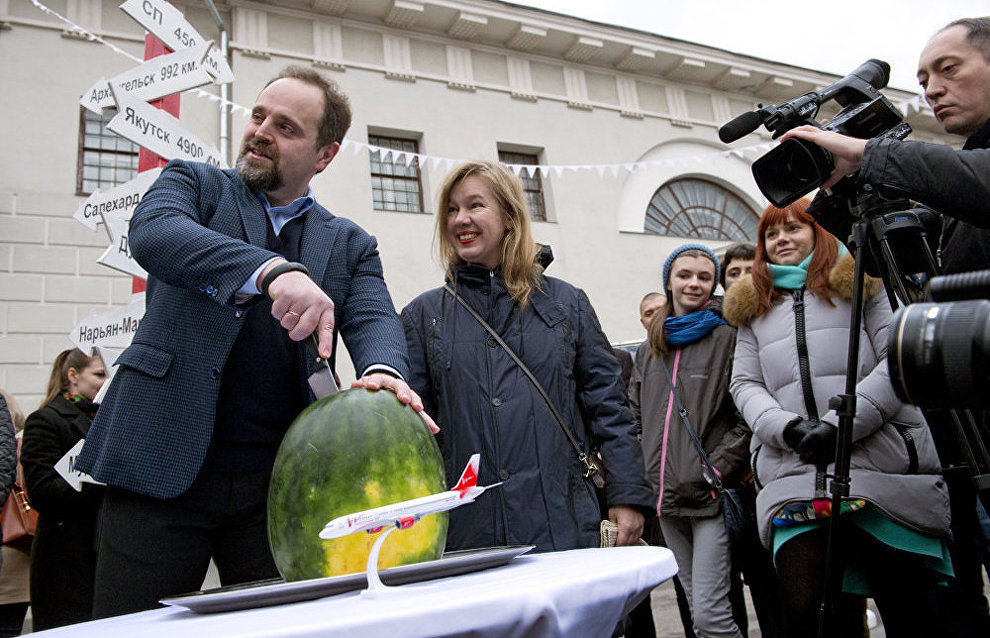 Cutting a watermelon is a tradition with polar researchers