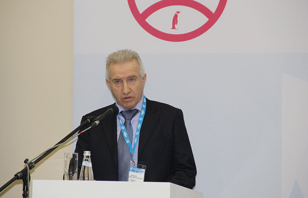 Nikolai Monko, deputy head of the Northern Sea Route Administration, speaking at the working session, The Northern Sea Route: Today and Tomorrow