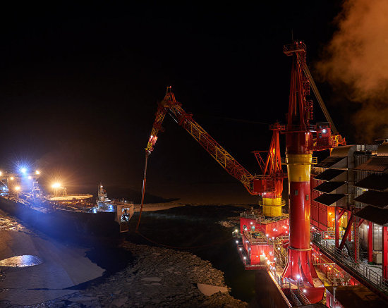The Kirill Lavrov ice-class tanker during oil injection at the Prirazlomnaya offshore oil platform