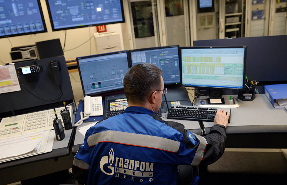 The main control room at the Prirazlomnaya offshore oil platform