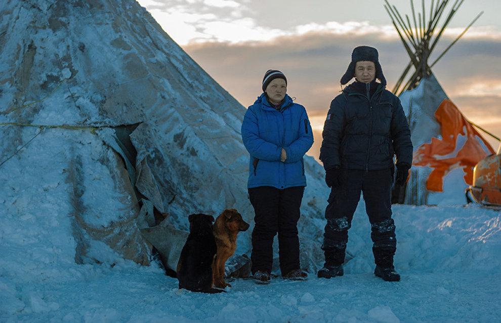 Reindeer herders Radik and Nina