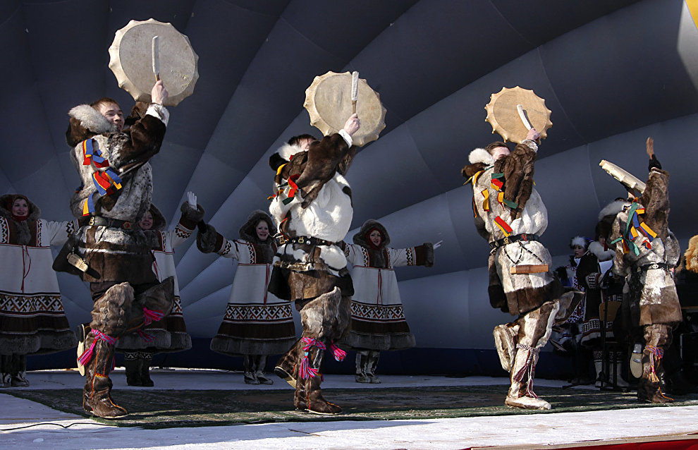 A folk dance  performance on Reindeer Herders' Day