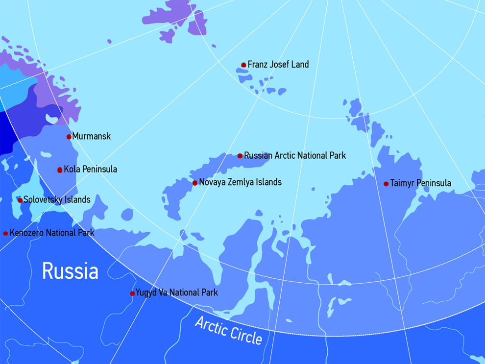 Arctic Circle Russia Map.Tourism And Recreation