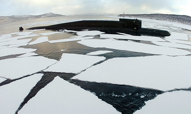 Russian submarine sub-ice navigation drills in the Arctic