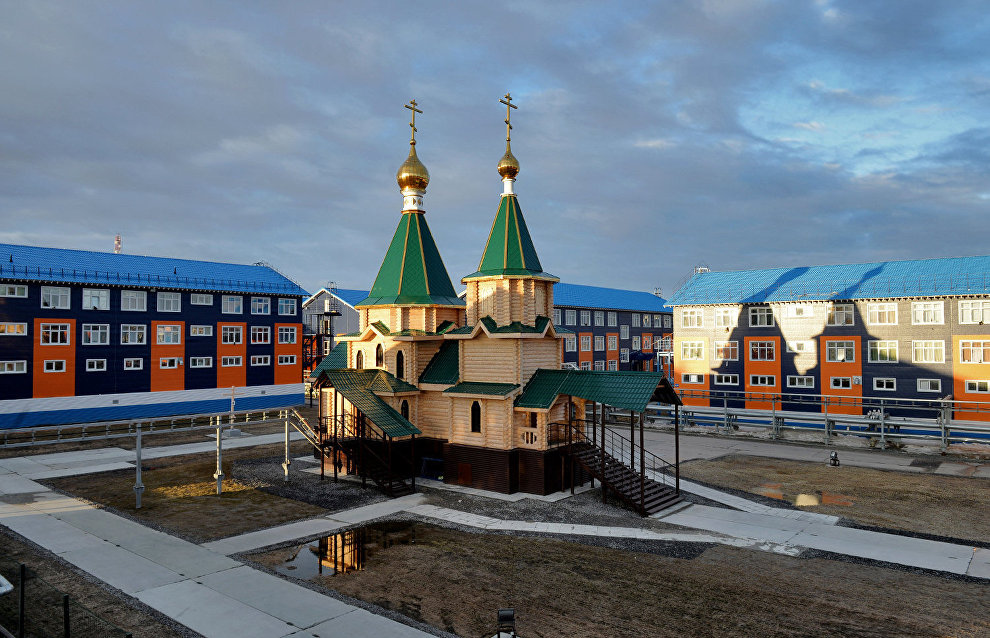 Cathedral of the Life-Giving Trinity in Sabetta workers' settlement in Yamal-Nenets Autonomous Area