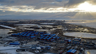 Construction site of the Yamal LNG plant and the Sabetta sea port