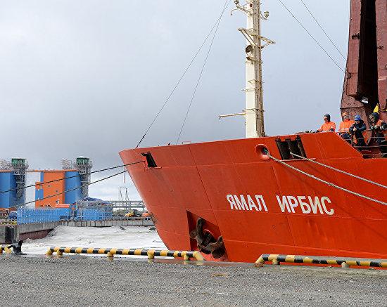 Yamal Irbis cargo vessel in the Sabetta sea port