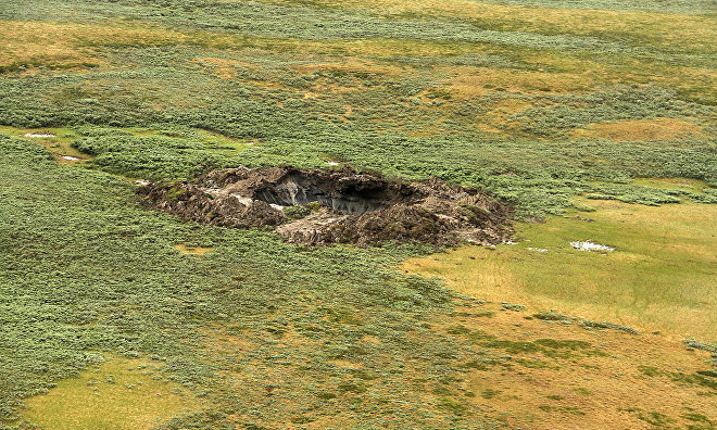 A view of a giant crater discovered in Yamalo-Nenets Autonomous Area, 2014