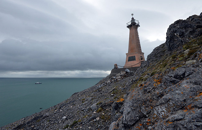 Lighthouse in Cape Dezhnev, the easternmost point of the Chukotka Peninsula (the easternmost point of continental Russia)