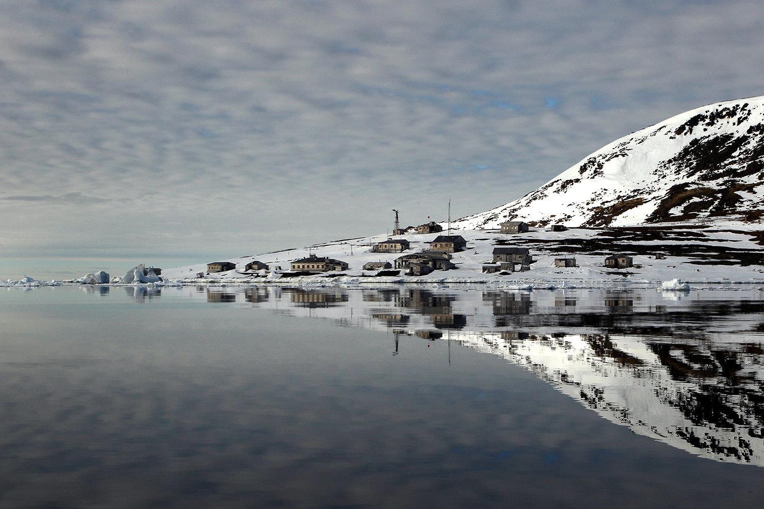 A polar station on the shore of Tikhaya Bay on Hooker Island at the Franz Josef Land Archipelago