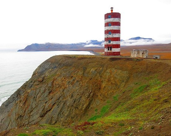 Bering Sea. Navarinsky Lighthouse. The stormiest place in Russia