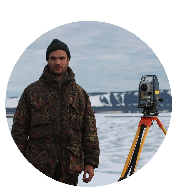Andrei Paramzin, leading geomatics surveyor/engineer at Cape Baranov Ice Base's research station, Novaya Zemlya Archipelago, Bolshevik Island