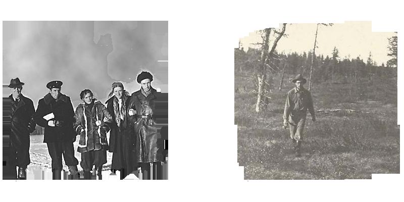 Слева:В.Л.Масайтис, М.А.Гневушев, И.И.Краснов, Л.А.Попугаева, Н.В.Кинд, А. А.Арсеньев. Нюрба, 1954 г.; справа: в геологическом маршруте. Якутия, Далдын, 1955 г