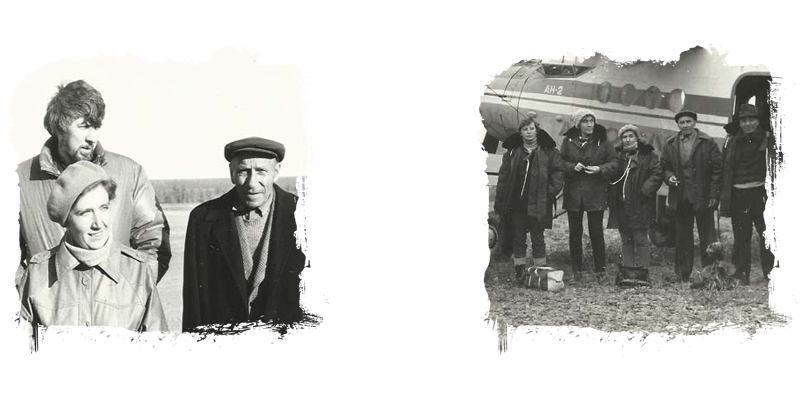 Right: Yakutia, 1985. From left: Valentin Vendelovsky, Natalya Popugayeva and Fyodor Belikov; left: Shooting the film Yakutia Diamonds directed by Valentin Vendelovsky, 1985. Discoverers of Yakutia diamonds meet for the first time after discovering primary diamond deposits. From left: Yekaterina Yelagina, a member of the film crew; Nataliya Kind; Natalya Popugayeva; Fyodor Belikov and Grigory Fainshtain