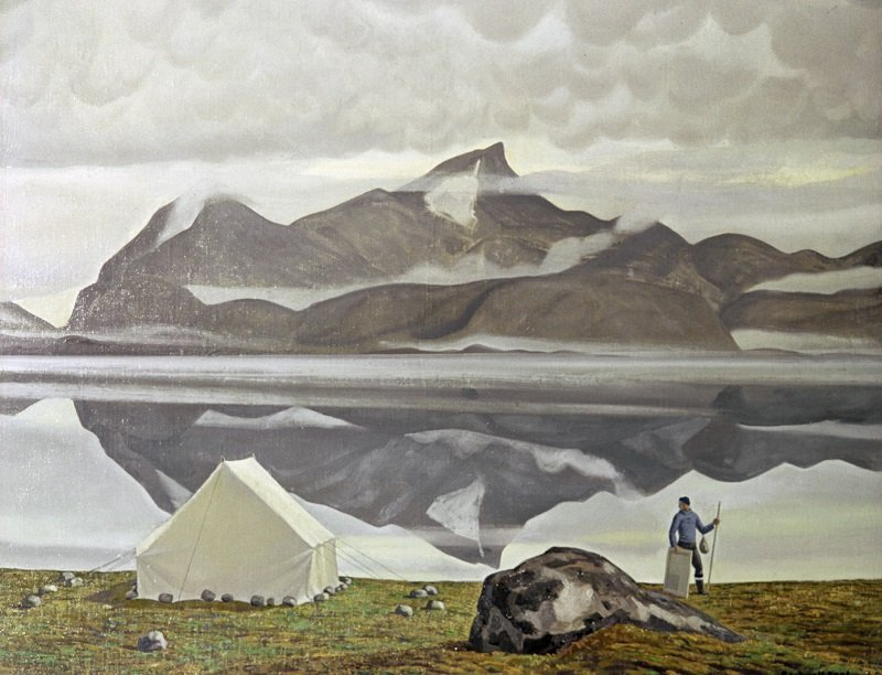 A reproduction of Rockwell Kent's painting Artist in Greenland (1932). From the collection of the Pushkin State Fine Arts Museum