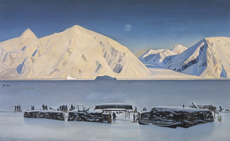 Reproduction of Greenland painting by American artist and writer Rockwell Kent (1882-1971). The State Pushkin Museum of Fine Arts