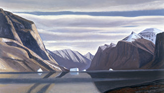A reproduction of Rockwell Kent's painting Fjord in Northern Greenland