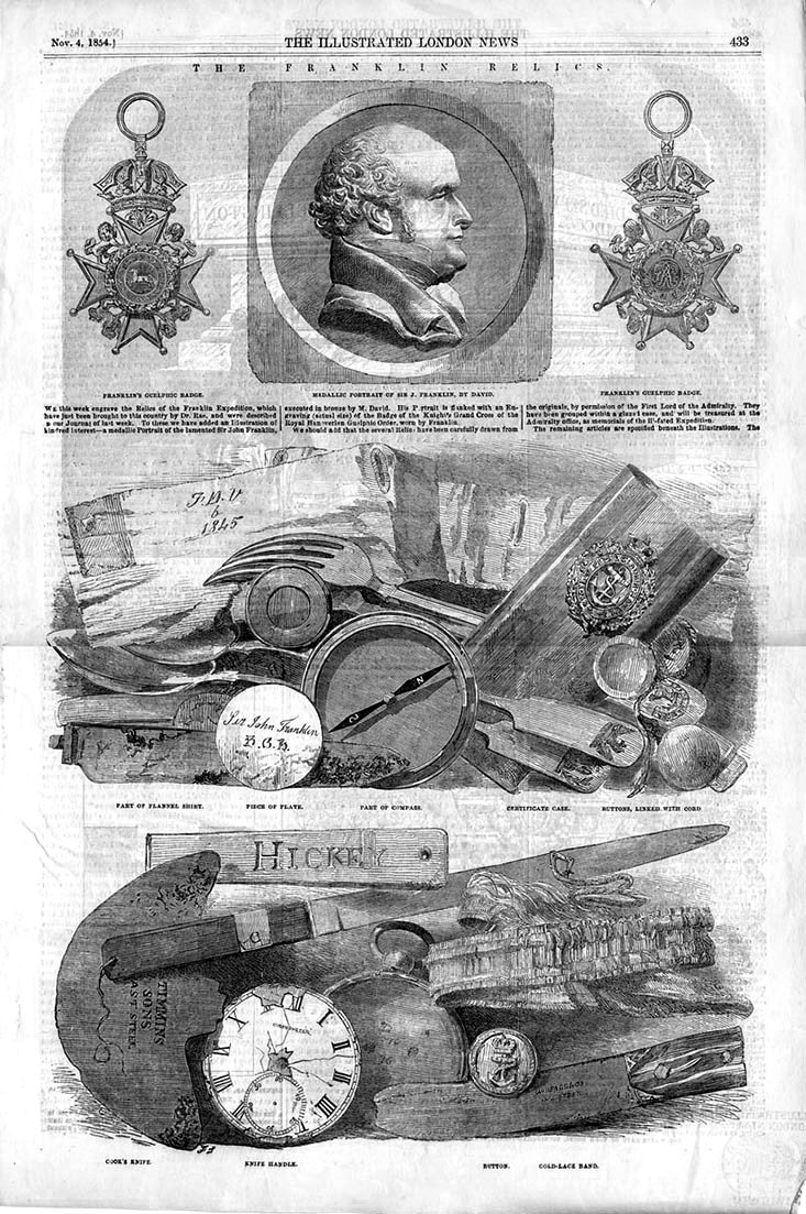 Items that belonged to the Franklin's expedition. Illustrated London News, October 1854