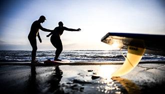 Обучение сёрфингу зимой на Халктырском пляже