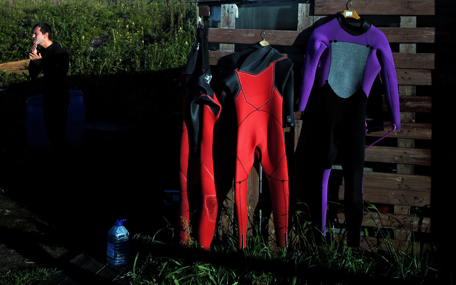 Wetsuits dry after surfing