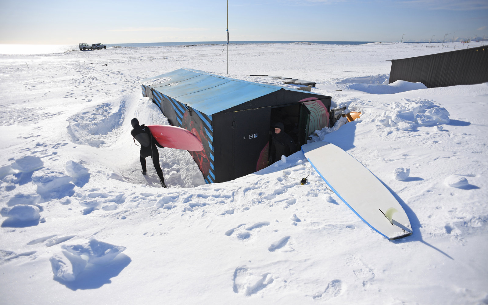 Surf camp at Khalaktyrsky Beach in the winter