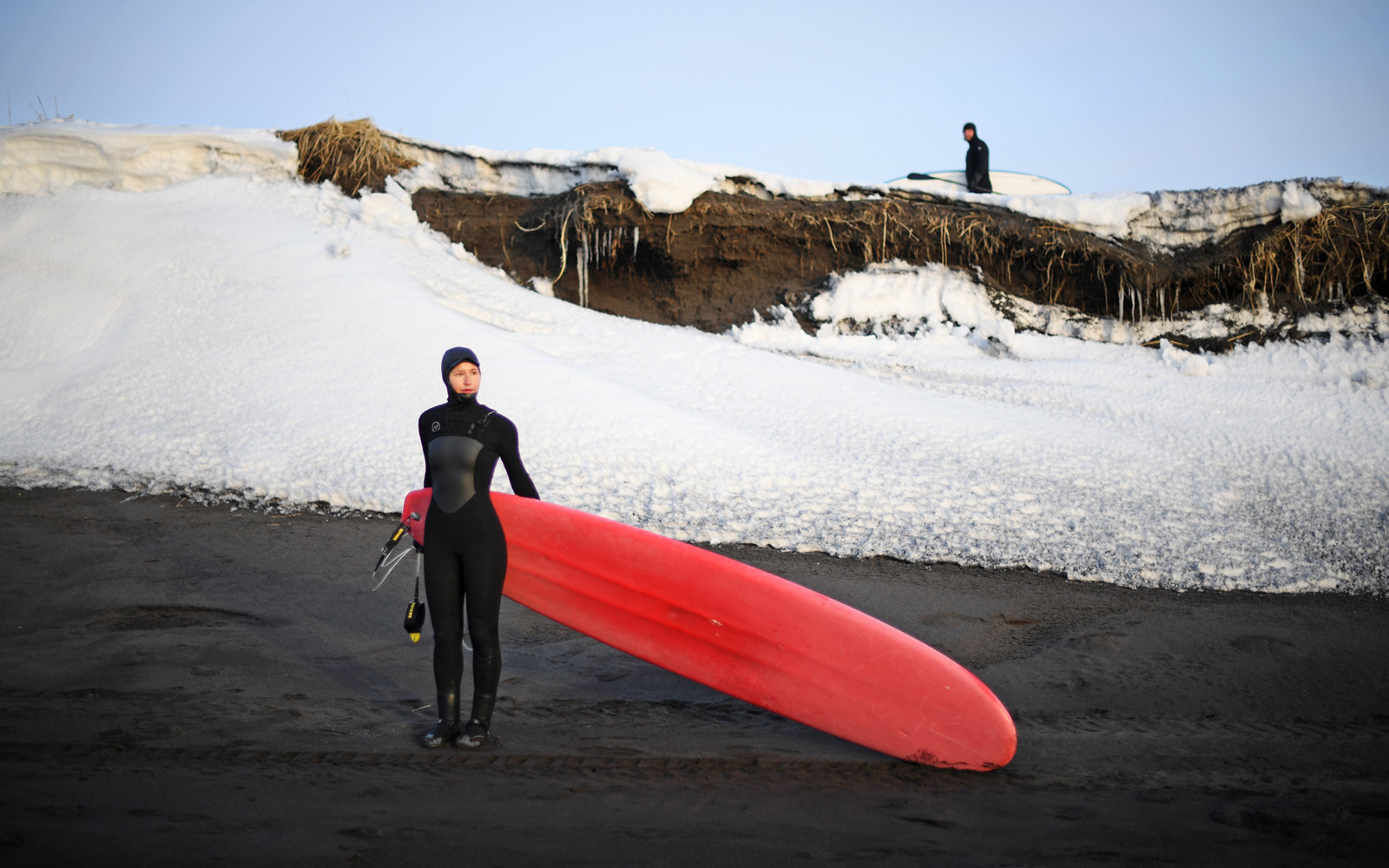 Surfer Lyudmila Orlova at Khalaktyrsky Beach