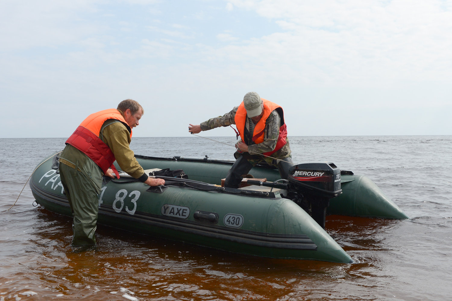 Oceanologist Sergei Klimov working with a colleague
