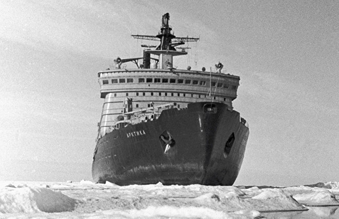 Flagship of the Soviet icebreaker fleet - 'Arktika' atomic ice-breaker