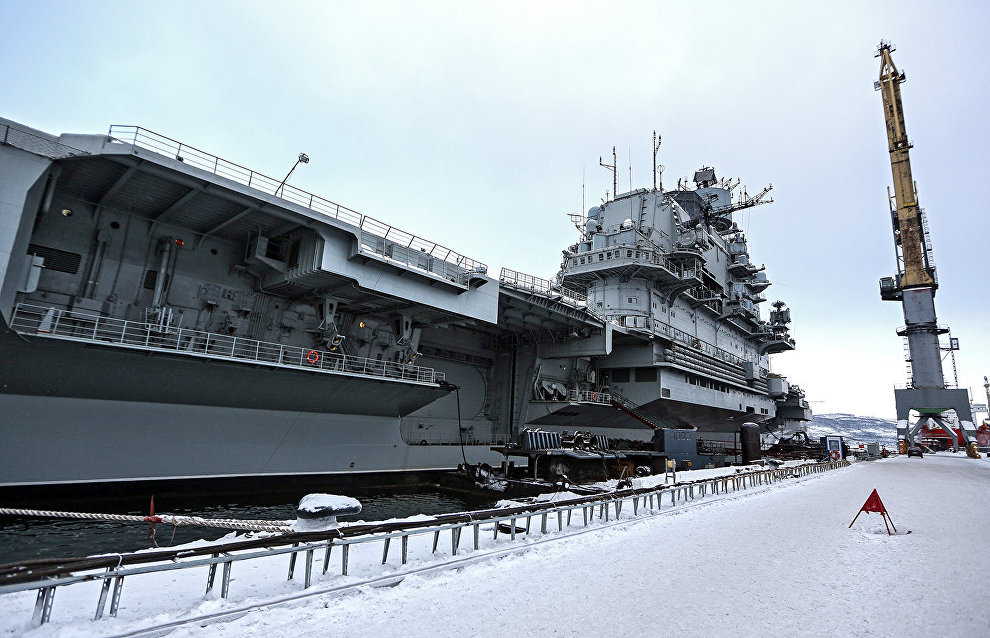 Admiral Kuznetsov arrives at shipyard near Murmansk after dock accident