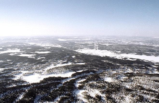 Вид тундры с вертолета