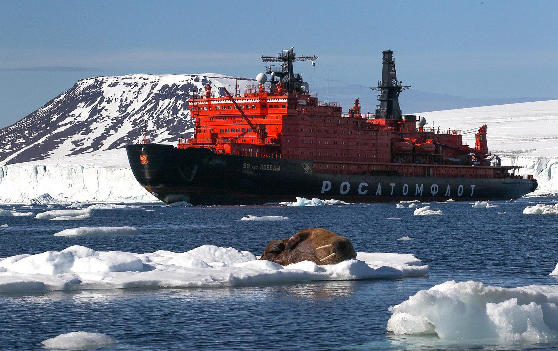 The icebreaker 50 Let Pobedy in Tikhaya Bay, Franz Josef Land, Russian Arctic National Park