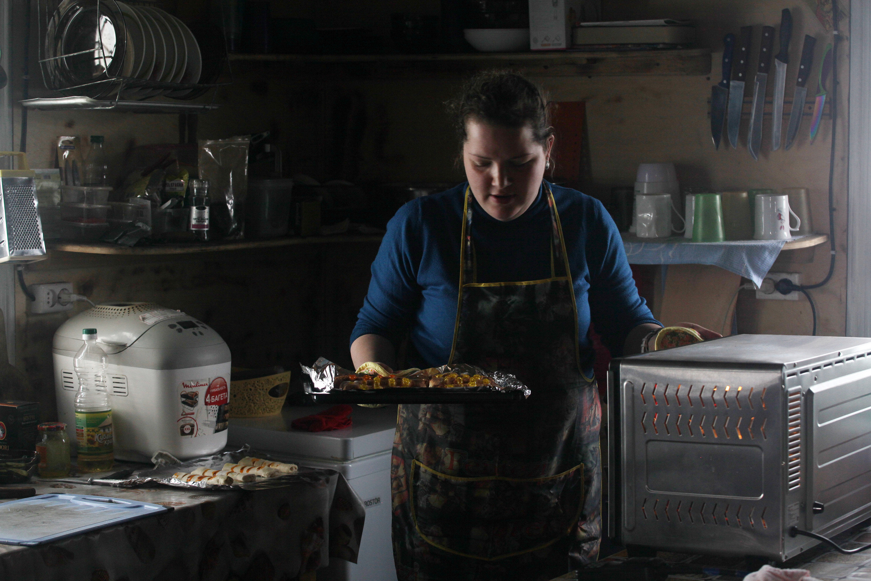 Cook Yulia Belyakova at the polar station, Franz Josef Land, Russian Arctic National Park