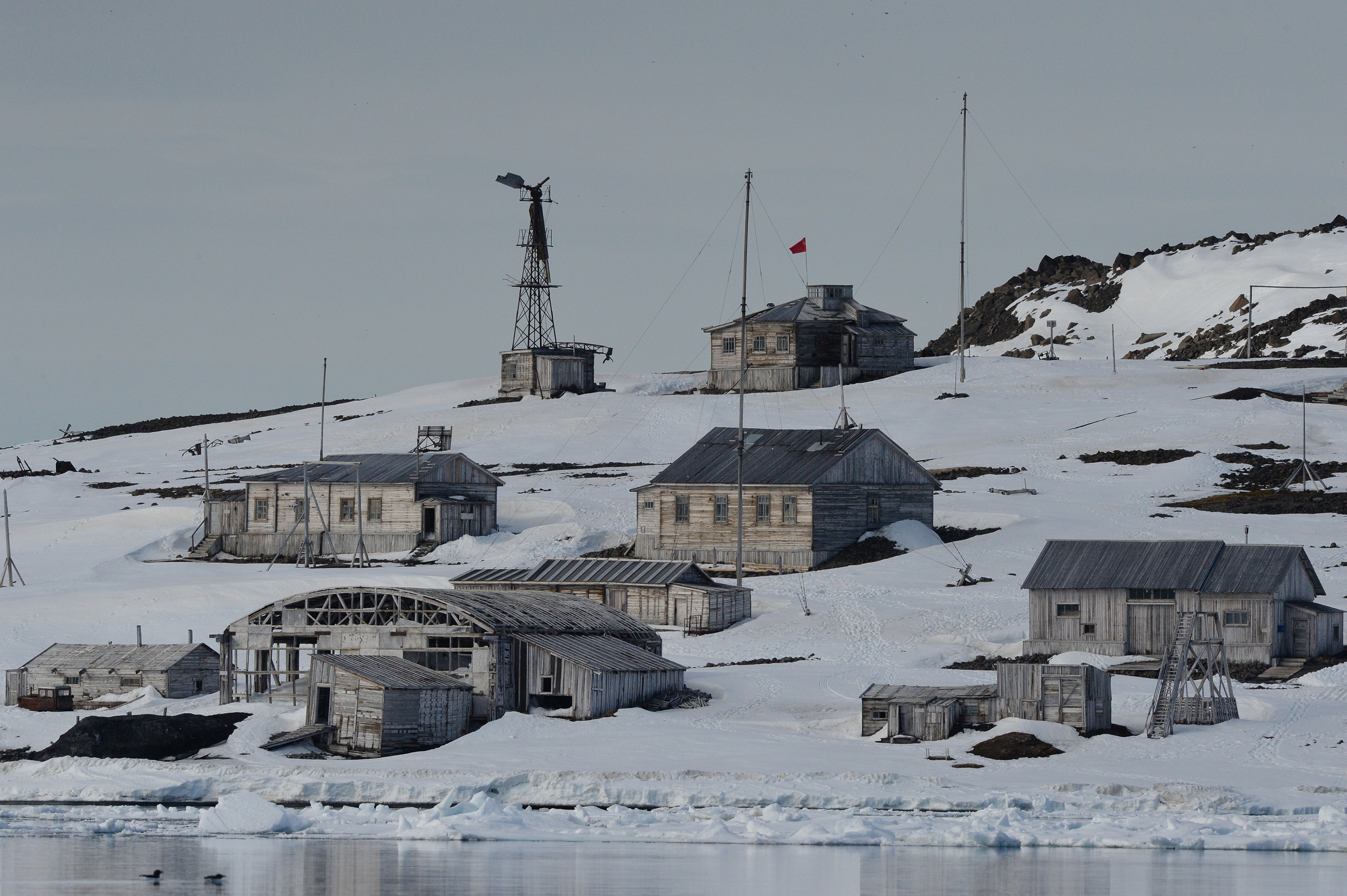 View of the polar station from the water, Franz Josef Land, Russian Arctic National Park