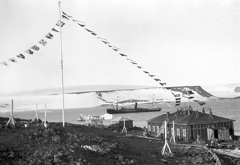The Quiet Cove (polar station) at the Hooker Island (Franz Josef Land)