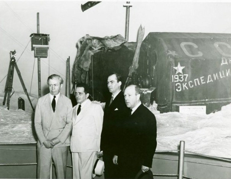 The Soviet Arctic pavilion at VDNKh. Exhibition of the North Pole expedition headed by Ivan Papanin